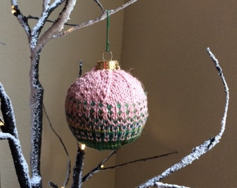 Pink and Green Hand Knit Christmas Ornament