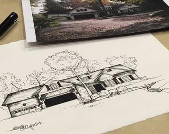 Custom Hand Ink Sketch