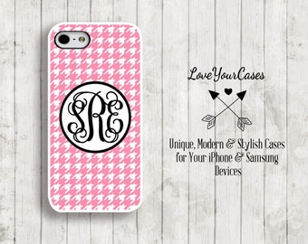 iPhone 6 Case, iPhone 6 Plus Case, iPhone 5 Case, iPhone 5c Case, Monogrammed Case, Personalized iPhone Case, Monogram, Pink Houndstooth,920