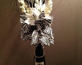 Designer Inspired Couture Upcycled Wine Bottle Vase