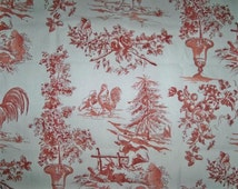 PIERRE DEUX KRAVET French Country Rooster Hen Toile Fabric 10 Yards Burgundy/Red Off White Cream