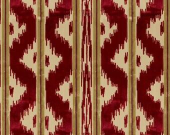 BRUNSCHWIG & FILS CHINOISERIE Zhen Cut Velvet Fabric 5 Yards Ruby