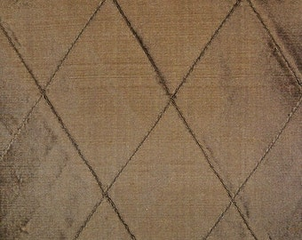 SILK LOOM EDINA Embroidered Diamond Harlequin Silk Fabric 10 Yards Brown