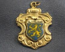 Netherlands Holland enamel shield 800 silver travel charm