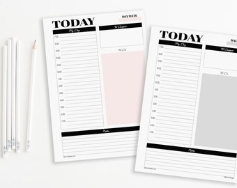 A5 Modern Simple Daily Planner Printable Inserts Refills (also fits kikki.k PERSONAL Planner & Time Planner LARGE)-Undated