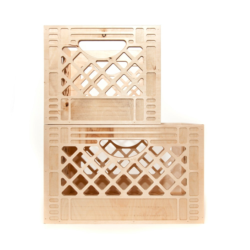 set of 2 milk crates wooden milk crate by waamindustries. Black Bedroom Furniture Sets. Home Design Ideas