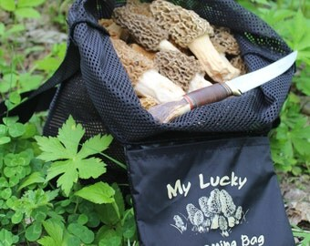 My Lucky Shrooming Bag For Mushroom Hunters. Tough tear resistant scuba mesh, solid bottom