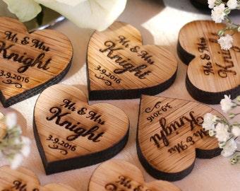 Personalised Wooden Mr & Mrs Love Hearts Wedding Table Decoration Favour Oak 3cm x 3cm