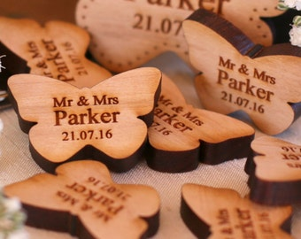 Personalised Wooden Mr & Mrs Love Butterflies Wedding Table Decoration Favour Cherry