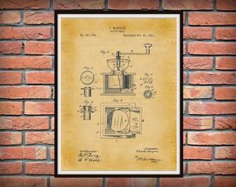 Patent 1891 Coffee Mill Coffee Grinder Patent Art Print - Kitchen Art - Restaurant Art - Poster Print - Wall Art - Espresso