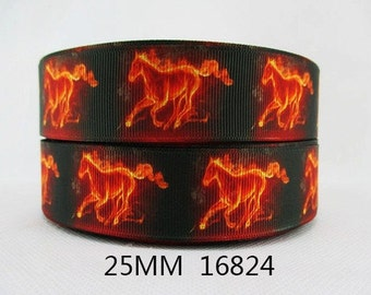 1 inch FLAME HORSES - Horse - Fire on Black - Flames 16824  Printed Grosgrain Ribbon for Hair Bow