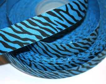 7/8 inch GLITTER Black Zebra on BLUE Animal Print Printed Grosgrain Ribbon for Hair Bow