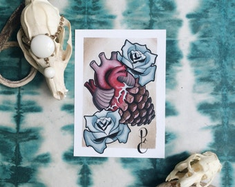 "Pinecone Heart - 5""x7"" Giclee Fine Art Print"