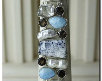 Merlinite Dendritic Agate LARIMAR Pearl 925 Solid Sterling Silver Bracelet & FREE Worldwide Shipping B1011