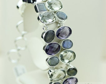 Canadian Faceted LABRADORITE Amethyst PRASIOLITE 925 S0LID Sterling Silver Bracelet & FREE Worldwide Express Shipping B685