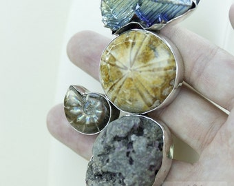 Rough Tourmaline Sand Dollar Fossil Ammonite BISMUTH Crystal 925 S0LID Silver Pendant + Snake Chain & FREE Worldwide Express Shipping MP186