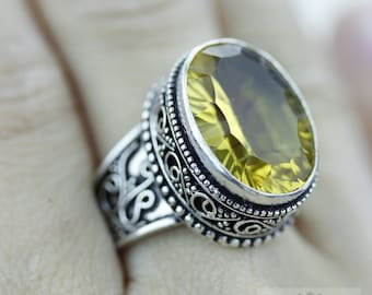 Size 8.5 - LAB CREATED Yellow Sapphire 925 S0LID (Nickel Free) Sterling Silver Vintage Setting Ring & FREE Worldwide Express Shipping R1795