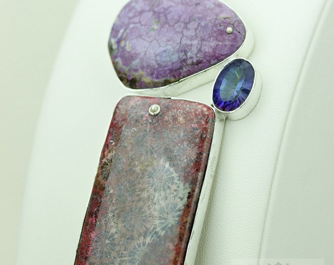 PURPLE TURQUOISE Red FOSSILIZED Coral 925 S0LID Sterling Silver Pendant + 4mm Snake Chain & Free Worldwide Express Shipping mp427