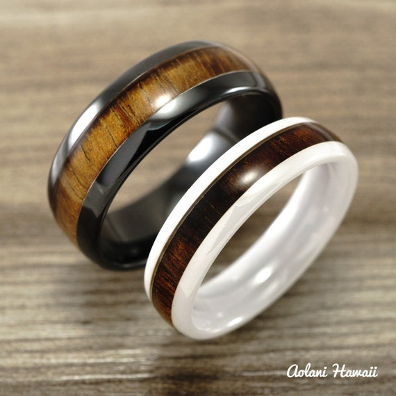 Wedding ring set of ceramic rings with hawaiian by for Hawaiian wedding ring sets