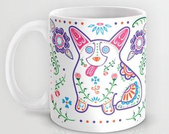 Corgi - Sugar Skull Color Corgi Mug - Welsh Corgi Coffee Mug - Dia de los muertos - Dia de los corgis - Pet Lover Gift- Corgi Mug