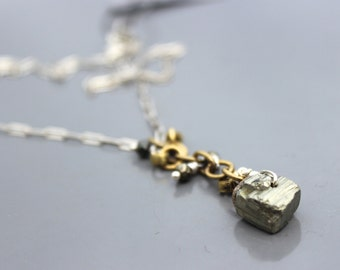 Pyrite Nugget Contemporary Simple Necklace