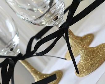 Gold Glitter Wine Glasses with black Ribbon