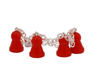 Ludo red bracelet of recycled board game, dangle bracelet, charm jewelry, chain bracelet- adjustable bracelet
