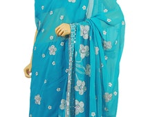 Designer Sarees - Blue Bollywood Party Saree Latest Chiffon Fashion Designer Cocktail Dress with Bead work from India - NH7697