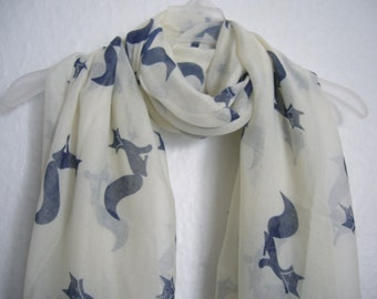 Fox Scarf, Off- White And Blue Fox Scarf, Nature's Scarf, Spring, Summer Scarf, Multi colour Scarf