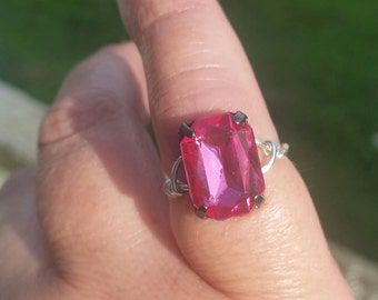 handcrafted wire wrapped pink crystal ring