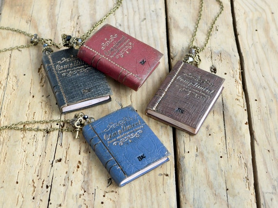 Mini book necklace  Book jewelry Miniature book necklace Book pendant Book lovers gift Handmade mini book Mini journal necklace Book gift
