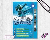 Skylanders Birthday Invitation - Trap Team - WATER - Gill Grunt - SLW3-I