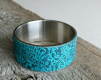 Textured Cuff Bracelet - Turquoise Bracelet - Polymer Clay Cuff  Bracelet - Stainless Steel Bangle - Handmade Cuff Bracelet - FREE SHIPPING