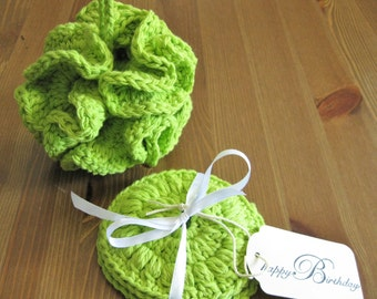Bath Pouf/Crochet Bath Set/Bath Gift Set/Facial Scrubbie/100% Cotton/Women's Gift/Handmade Washcloth/Green