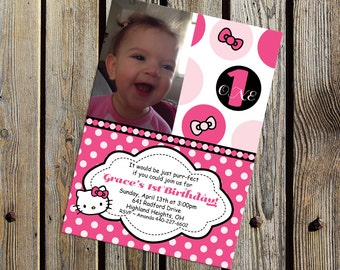 Kitty and Bow Black and Pink Polka Dot Photo Birthday Party Invitation DIGITAL PRINTABLE FILE