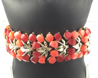 Vintage Red and Coral Thermoset Moonglow Bracelet - Circa 1950s