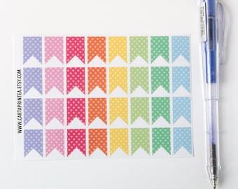 32 flag stickers, dot stickers, banner bunting, planner stickers, reminder checklist sticker eclp filofax happy planner kikkik