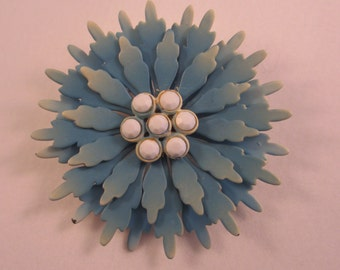 Vintage Enamel Flower Brooch Pin Big Blue Flower