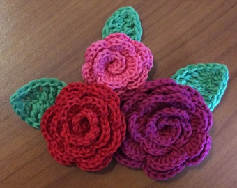 Crochet pattern roses and leaves in 3 different sizes pdf applique, crochet pattern bundle