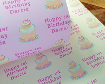 Personalised Wrapping Paper - Birthday Cake - GW001