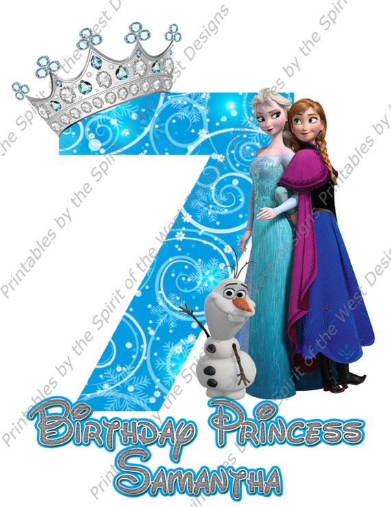 Seventh Birthday Girl Frozen Shirt Iron On Disney T Transfer