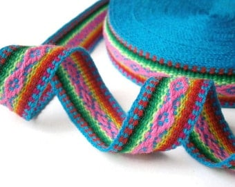 "turquoise ribbon woven jacquard trim tribal fabric trim bohemian ribbon geometric design 5.0 m/5.46 yd x 27 mm/1.06"" approx wide"