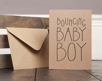New Baby Boy Greetings Card Recycled homemade text typography modern