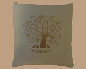 Family Tree / Family Cushion / Memory Cushion / Personalised Cushion Cover / Keepsake / Mum Gift / Family Gift / Grandparent Gift