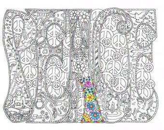 adult coloring page peace printable line art to print and color