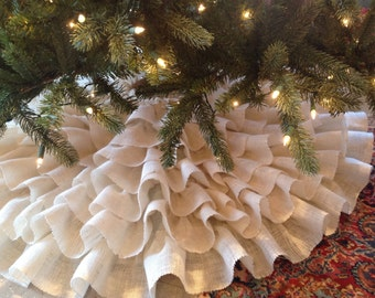 One Color Hand sewn Ruffled Burlap Christmas Tree Skirt