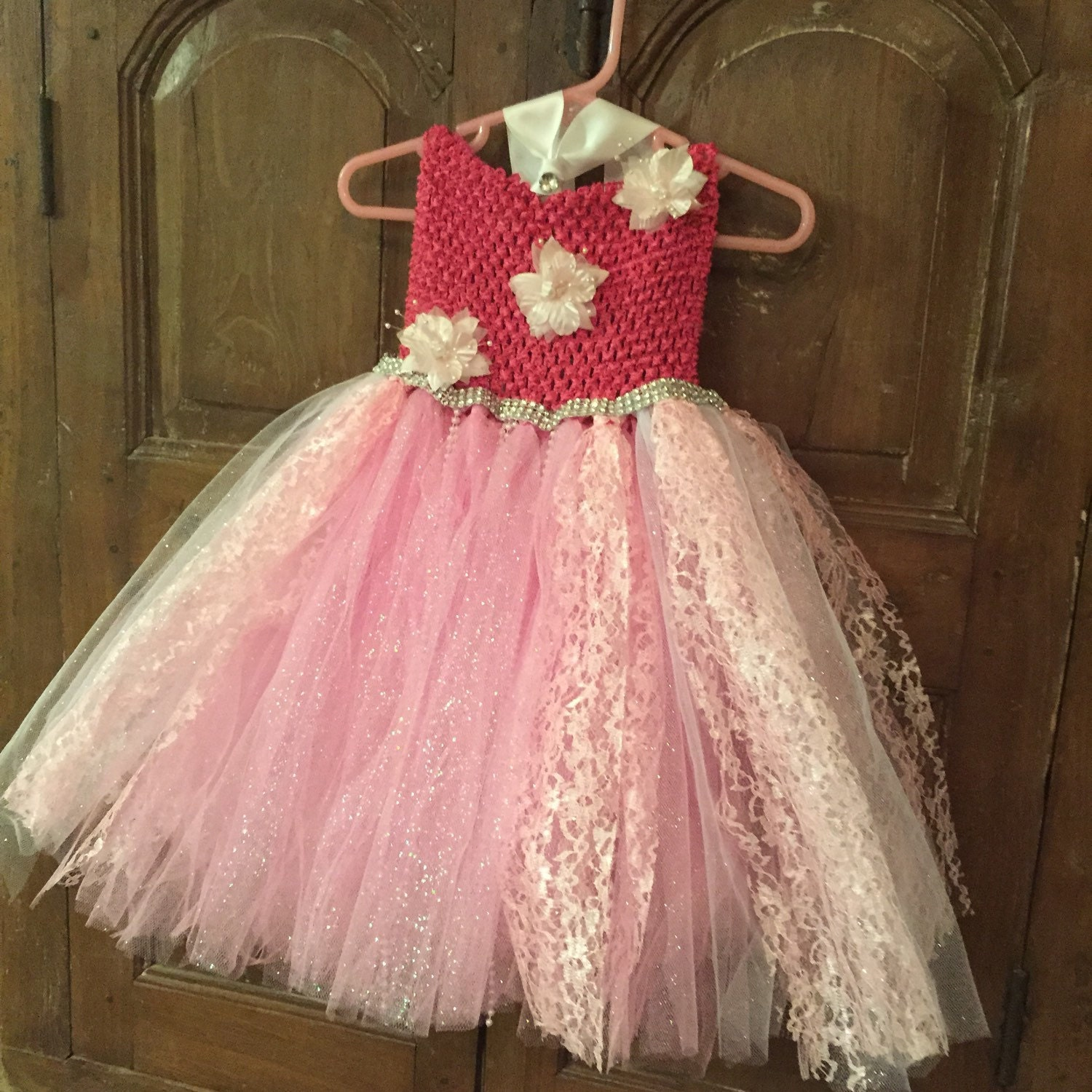 Pink dress flower girl dress tutu dress tulle by