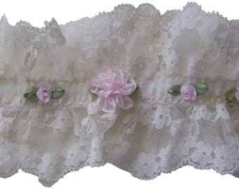 Ivory Lace and Pink Roses Baby Headband