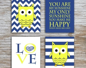 Kids (D) - You Are  My Sunshine - Owl - Navy Yellow - 4 Parts