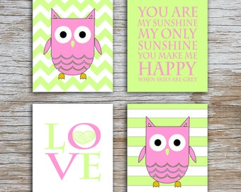 Kids (D) - You Are  My Sunshine - Owl - Pink Lime Green - 4 Parts